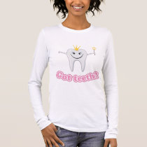 "Cute little tooth fairy with ""got teeth?"" text long sleeve T-Shirt"