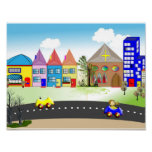 Cute Little Town Colorful Nursery Poster Print