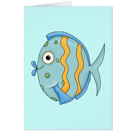 Cute Little Tropical Ocean Fish Cartoon Character Card