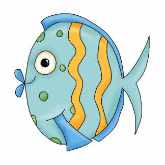 cute little tropical ocean fish cartoon character cutout