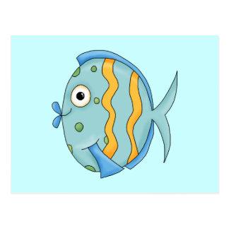 Cute Little Tropical Ocean Fish Cartoon Character Postcard