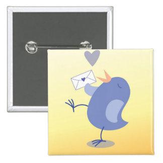 Cute little Tweeter Bird with a letter! Button