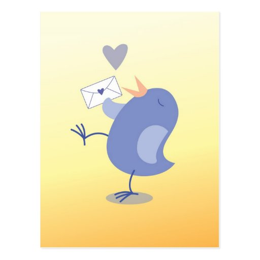 Cute little Tweeter Bird with a letter! Post Card