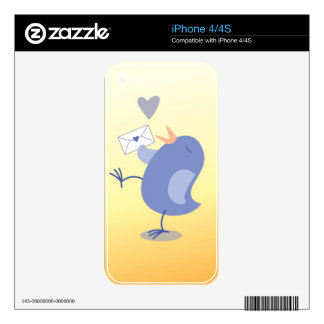 Cute little Tweeter Bird with a letter! Skins For The iPhone 4