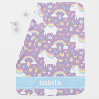 Cute Little Unicorn Baby Girl Personalized Blanket