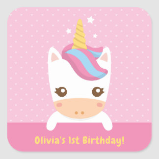 Cute Little Unicorn First Birthday Party Stickers