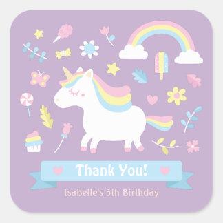 Cute Little Unicorn Girls Birthday Decor Stickers