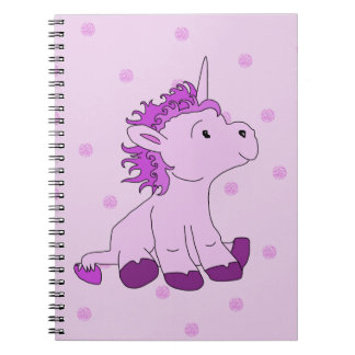 Cute Little Unicorn on a Pink background Notebook