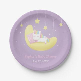 Cute Little Unicorn on Moon Baby Shower Plates