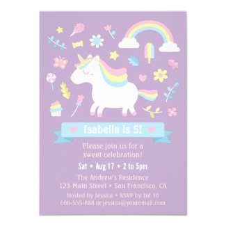 Cute Little Unicorn Rainbow Girls Birthday Party Card