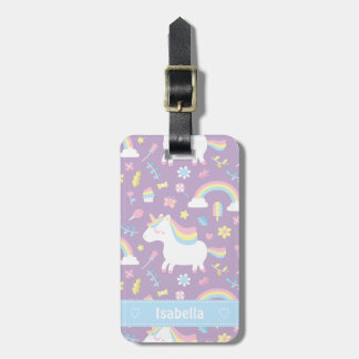 Cute Little Unicorn Rainbow Girls Pattern Tote Bag Bag Tag