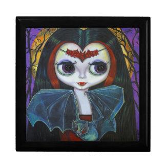 Cute Little Vampire Girl with Bat & Moon Keepsake Box