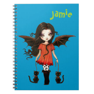 Cute Little Vampire with Cats Personalized Spiral Notebook