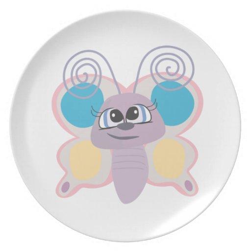 cute little vector butterfly cartoon dinner plates