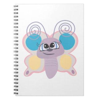 cute little vector butterfly cartoon spiral note book