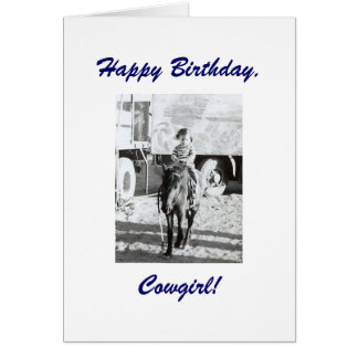 Cute Little Vintage Cowgirl Pony Birthday Wishes Cards