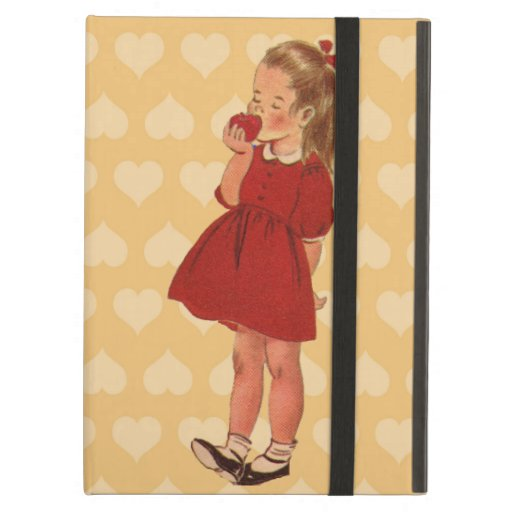 Cute Little Vintage Girl Red Dress Apple Hearts Case For iPad Air