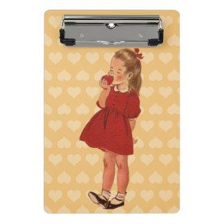 Cute Little Vintage Girl Red Dress Apple Hearts Mini Clipboard