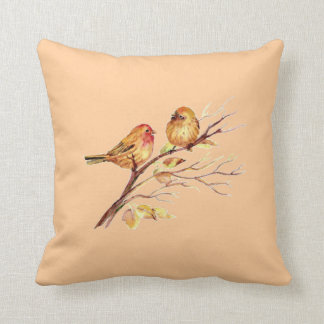 Cute Little Watercolor Birds Nature Wildlife Throw Pillow