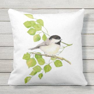 Cute Little Watercolor Chickadee Bird Poplar Tree Throw Pillow
