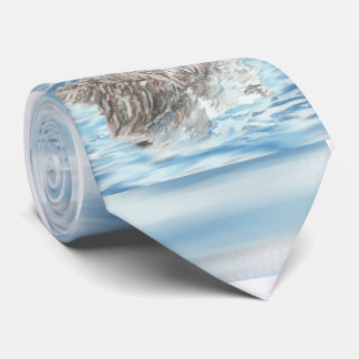 Cute Little Watercolor Otter Napping Blue Water Neck Tie