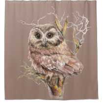 Cute Little Watercolor Owl Bird Nature art Shower Curtain