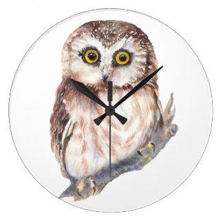 Cute Little Watercolor Owl Bird, Nature Design Large Clock