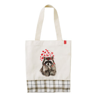 Cute Little Watercolor Raccoon Blowing Kisses Fun Zazzle HEART Tote Bag