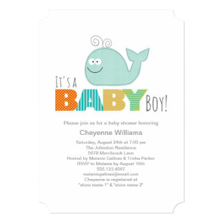 Cute Little Whale Baby Shower Invitation / Boy