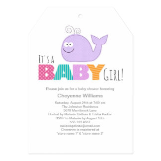 Cute Little Whale Baby Shower Invitation / Girl
