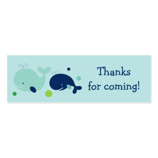Cute Little Whale Nautical Favor Gift Tags Double-Sided Mini Business Cards (Pack Of 20)
