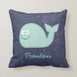 Cute Little Whale Personalized Baby Name Pillow Throw Pillow