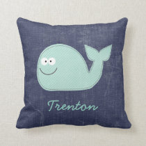 Cute Little Whale Personalized Baby Name Pillow