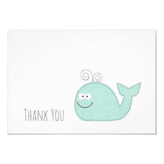 Cute Little Whale Thank You Flat Card / Aqua