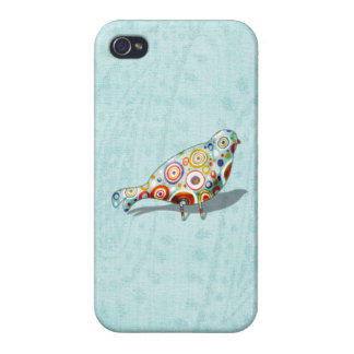 Cute Little Whimsical Bird on Paisley Covers For iPhone 4