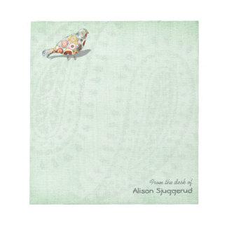 Cute Little Whimsical Bird Paisley Green Custom Note Pad