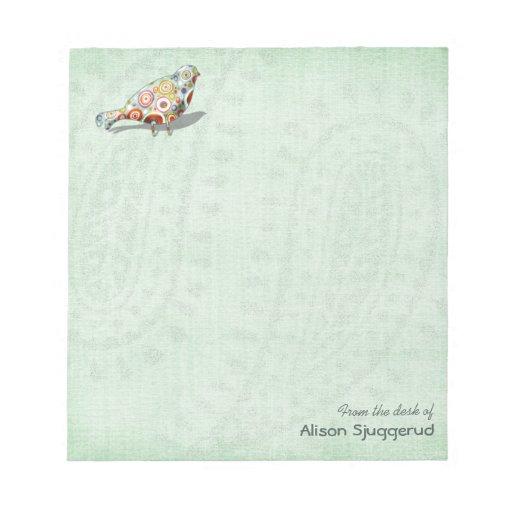 Cute Little Whimsical Bird Paisley Green Custom Notepads
