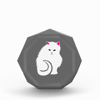 Cute Little White and Fluffy Kitty Cat Acrylic Award