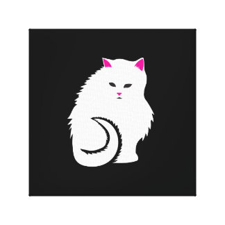 Cute Little White and Fluffy Kitty Cat Canvas Print