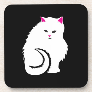 Cute Little White and Fluffy Kitty Cat Coaster
