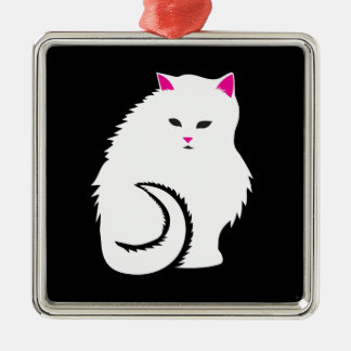 Cute Little White and Fluffy Kitty Cat Metal Ornament