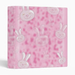 cute little white and pink bunny pattern vinyl binders
