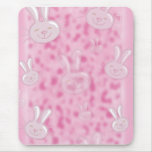 cute little white and pink bunny pattern mouse pad