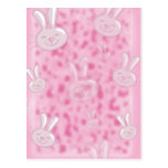 cute little white and pink bunny pattern postcard
