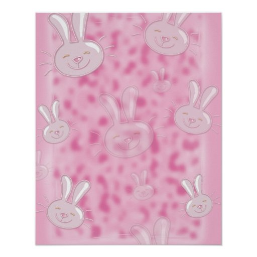 cute little white and pink bunny pattern poster