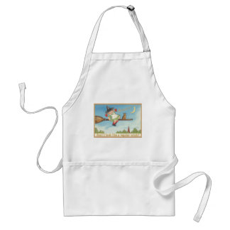Cute Little Witch Cat Crescent Moon Broom Adult Apron