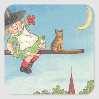 Cute Little Witch Cat Crescent Moon Broom Square Stickers