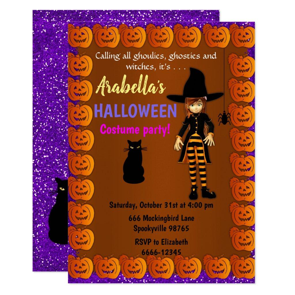 Cute Little Witch Children's Halloween Invitation