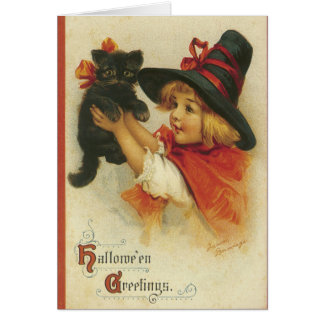 Cute Little Witch, Halloween cards, Black Cat Card