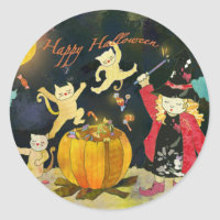 Cute Little Witch Halloween Goody Bag Stickers